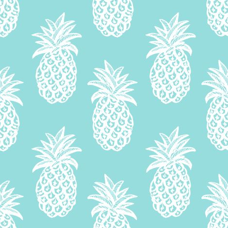 Pineapple Ocean  fabric by magentarosedesigns on Spoonflower - custom fabric