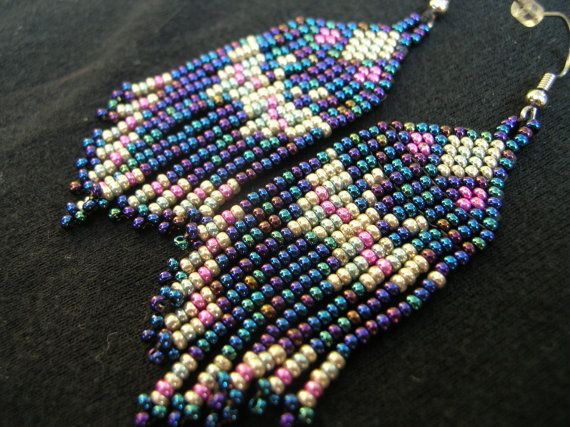 Beautiful Iris and Metallic Earrings