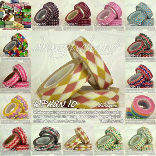 Paper-Washi-Masking-Tape-Adhesive-Roll-Decorative-Card-Craft-Trim-HARLEQUIN-Set