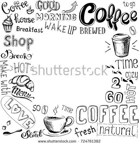 Coffee doodle background or frame, hand drawn on white , stock illustration