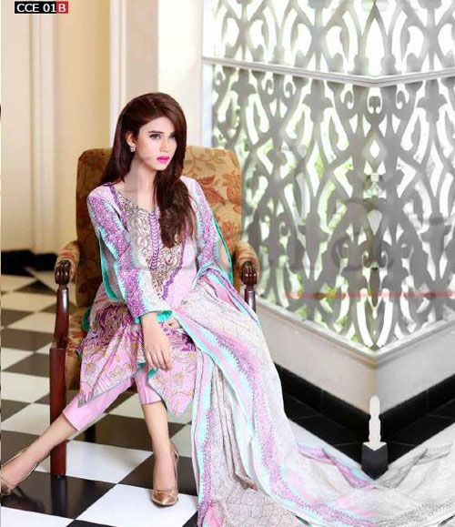 Lala Classic Cotton Embroidered lawn Suits Vol 1. CCE_01B