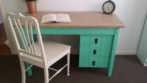 Refinished desk.  Originally bright yellow, the top was stirpped to bare timber greywashed and coated with varnish.  The base was painted in our own custom mixed aqua green chalk paint