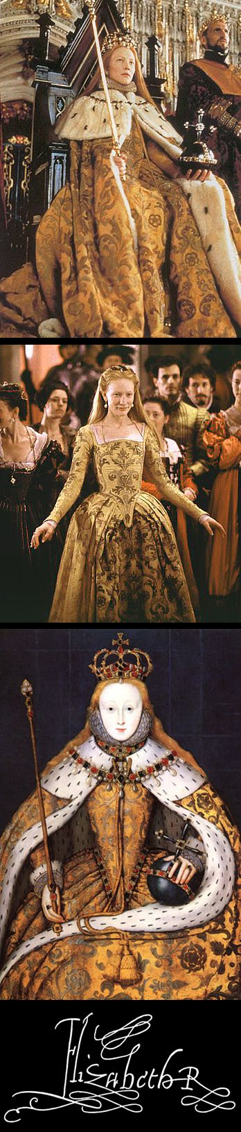 The coronation costume from the movie, 'Elizabeth', compared with the real article of clothing, shown in The Coronation Portrait (NPG, London).