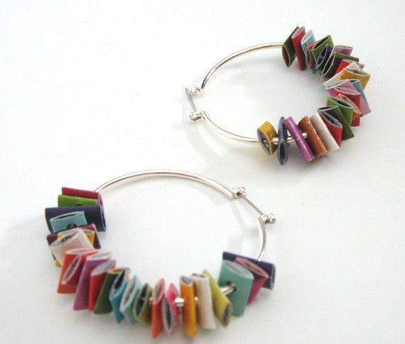 DIY inspiration - magazine hoop earrings