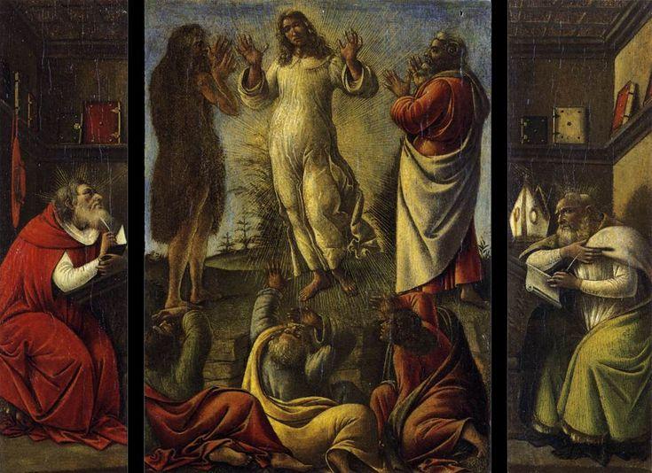 BOTTICELLI, Sandro The Transfiguration, St Jerome and St Augustine c. 1500 Tempera on panel, 28 x 36 cm Galleria Pallavicini, Rome