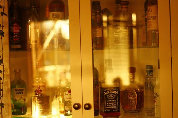 We rarely drink. BUT WHEN WE DO! Kidding.. #liquorcabinet #jackdaniels #absolutvodka