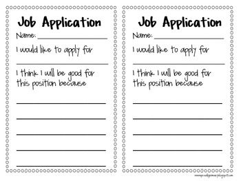 Classroom Job Application Freebie- great way to get kids to persuade you why they should have a special job in the classroom! Might try this for Cow herders and homework checkers.