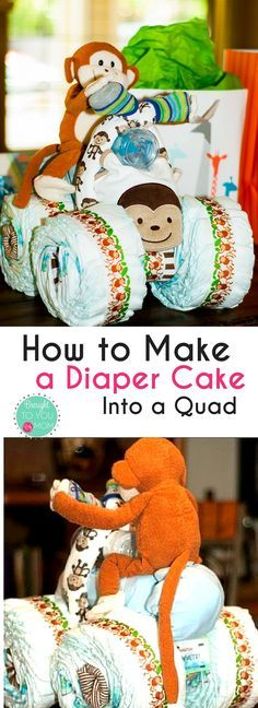 Check out this fun twist on the classic Diaper Cake for a Baby Shower with these Diaper Cake Motorcycle Instructions.