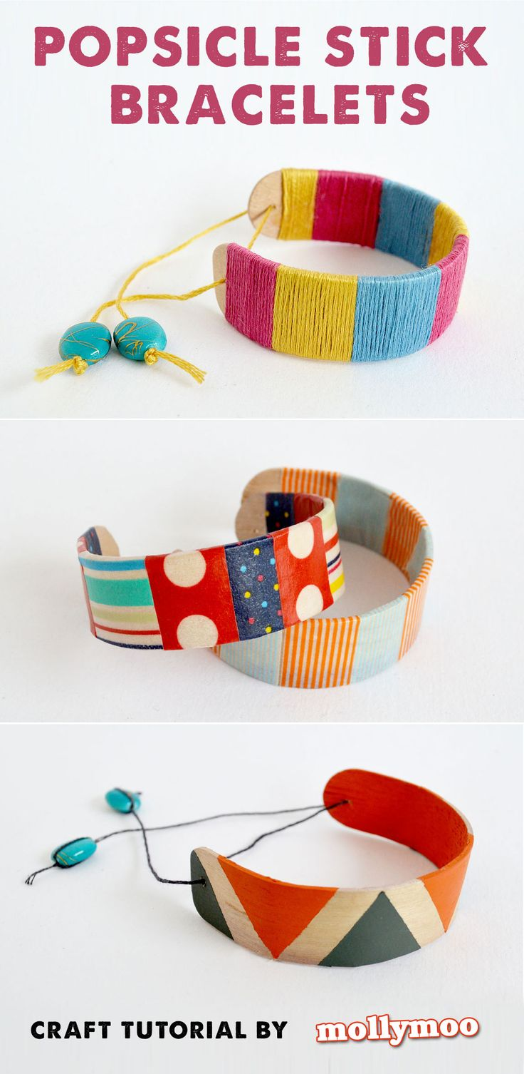 Popsicle Stick Bracelets - detailed tutorial on how to bend craft sticks and decorate to make really pretty bracelets #craft #kids #craftsforkids #kidscrafts