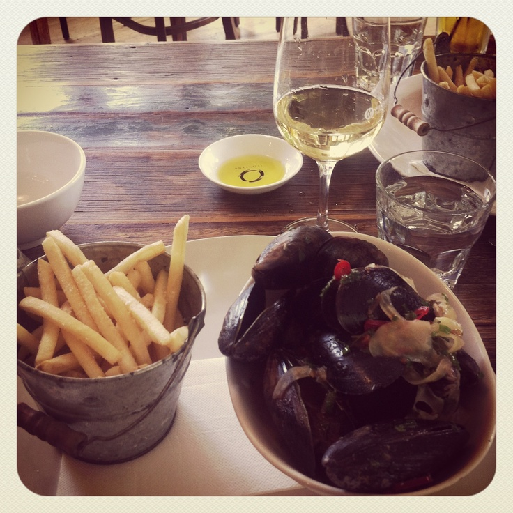Mussels and chips at Merrick's General Store.