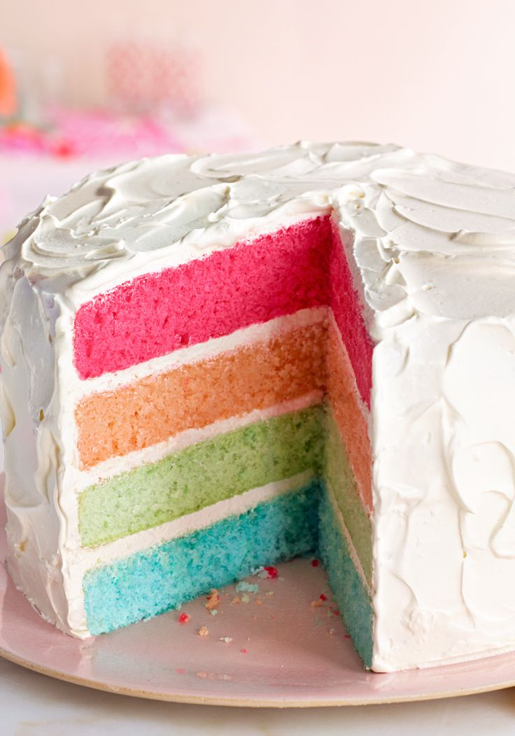 Rainbow layer cake- This dessert recipe is perfect for spring celebrations it will arrive at your table triumphing everything. It will enchant particularly the smaller ones of the home.