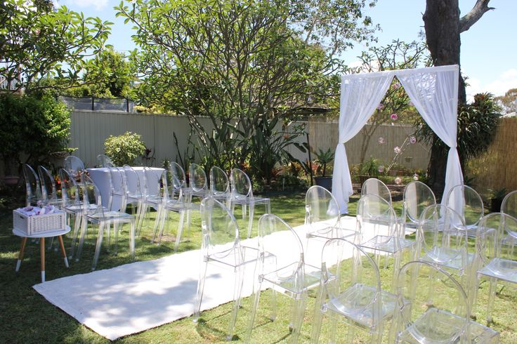 Ghost Chair Hire for Brisbane Weddings by Brisbane Wedding Decorators. http://www.brisbaneweddingdecorators.com.au/package/ghost-chair-hire/