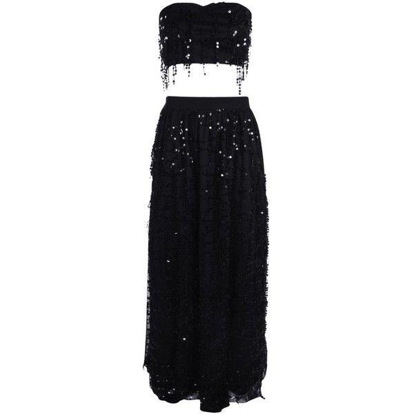 Boohoo Megan Sequin Bandeau Top And Maxi Skirt Co-Ord | Boohoo (240 BRL) ❤ liked on Polyvore featuring waist belt, golf skirts, bandeau tops and bandeau bikini tops