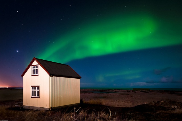 Aurora Borealis (The Northen Lights) as seen from a few miles outside Reykjavic, Iceland. I want to see the Northern Lights in person someday!