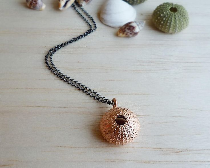 Rose Gold Plated Sterling Silver Sea Urchin Pendant with Black Platinum Plated Sterling Silver Chain  - Large Size Sea Urchin Necklace