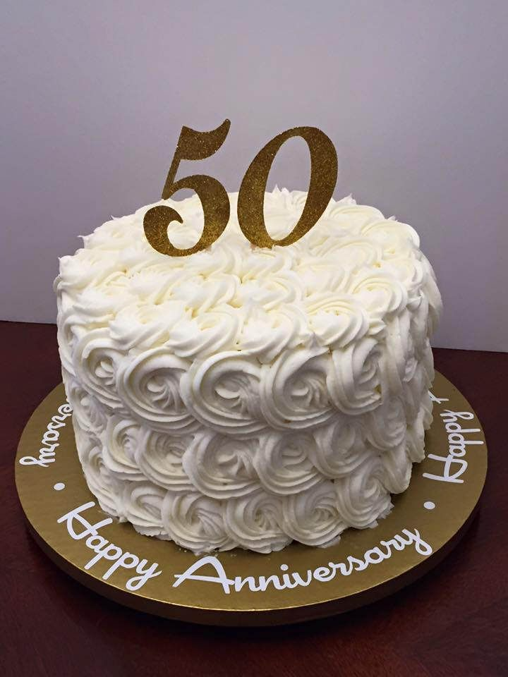 White buttercream rose 50th for 50th wedding anniversary cake decoration ideas