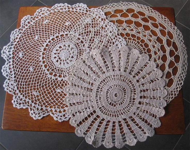 THREE Hand Crochet Vintage DOILIES  Cotton Thread in Shades of Taupe Diameter: 35cms 34cms 27cms Never Used but stored over a long period of time so I have *Laundered *Starched *Ironed  to freshen up. Comes to you ready to use.
