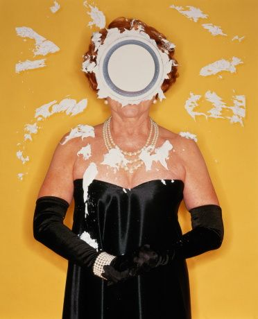 Stock Photo : Woman with pie on face (Digital Enhancement)