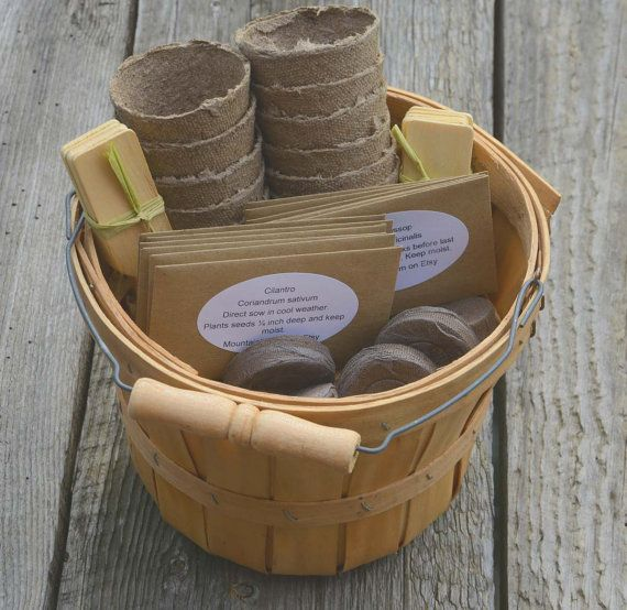// Such nice kits -- a great-looking shop! I might wind up buying the individual marigold, lavender or chive seed packets for myself eventually lol. // Herb Seed Kit Deluxe Herb Seed Kit Grow Your Own Herbs Organic Herb Seeds With Harvest Basket Perfect Gift For Mom or Hostess Gift  This listing