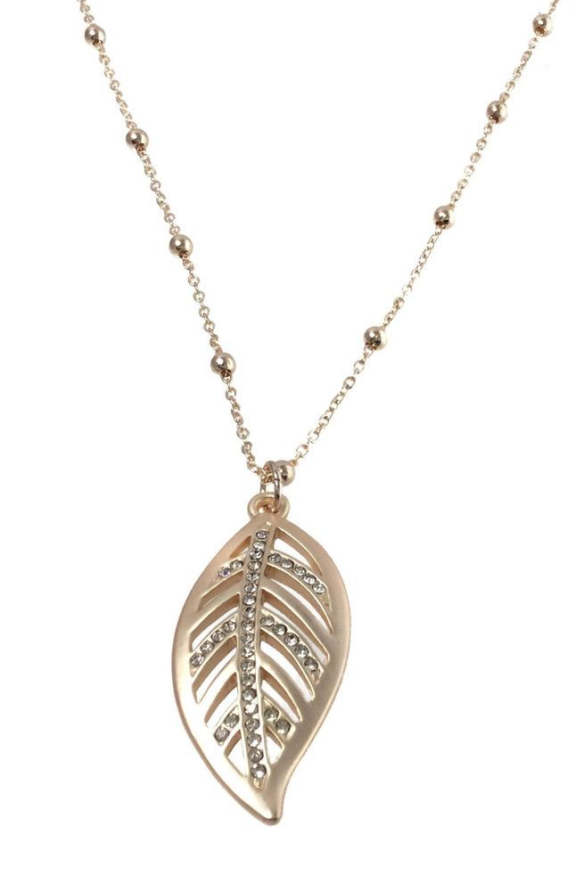 Rose Gold Cubic Zirconia Feather Pendant with Long Costume Jewellery Necklace