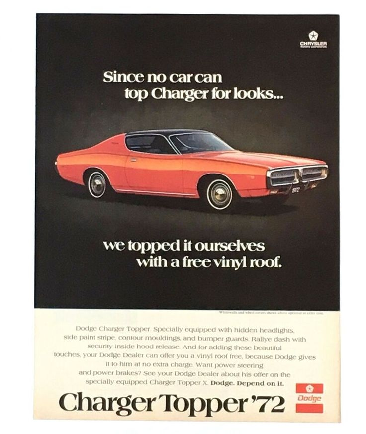 1972 Dodge Charger Advertisement Topper Red Car Photo