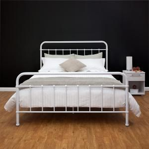 Nellie Metal Queen Bed - White | Deals Direct Online Mobile