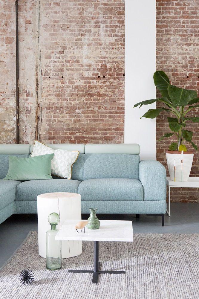 montl tosca hoekbank blauwe hoekbank blauw lichte bank leer stof interieur woonkamer loft fris interieur interieur kleuren in 2018