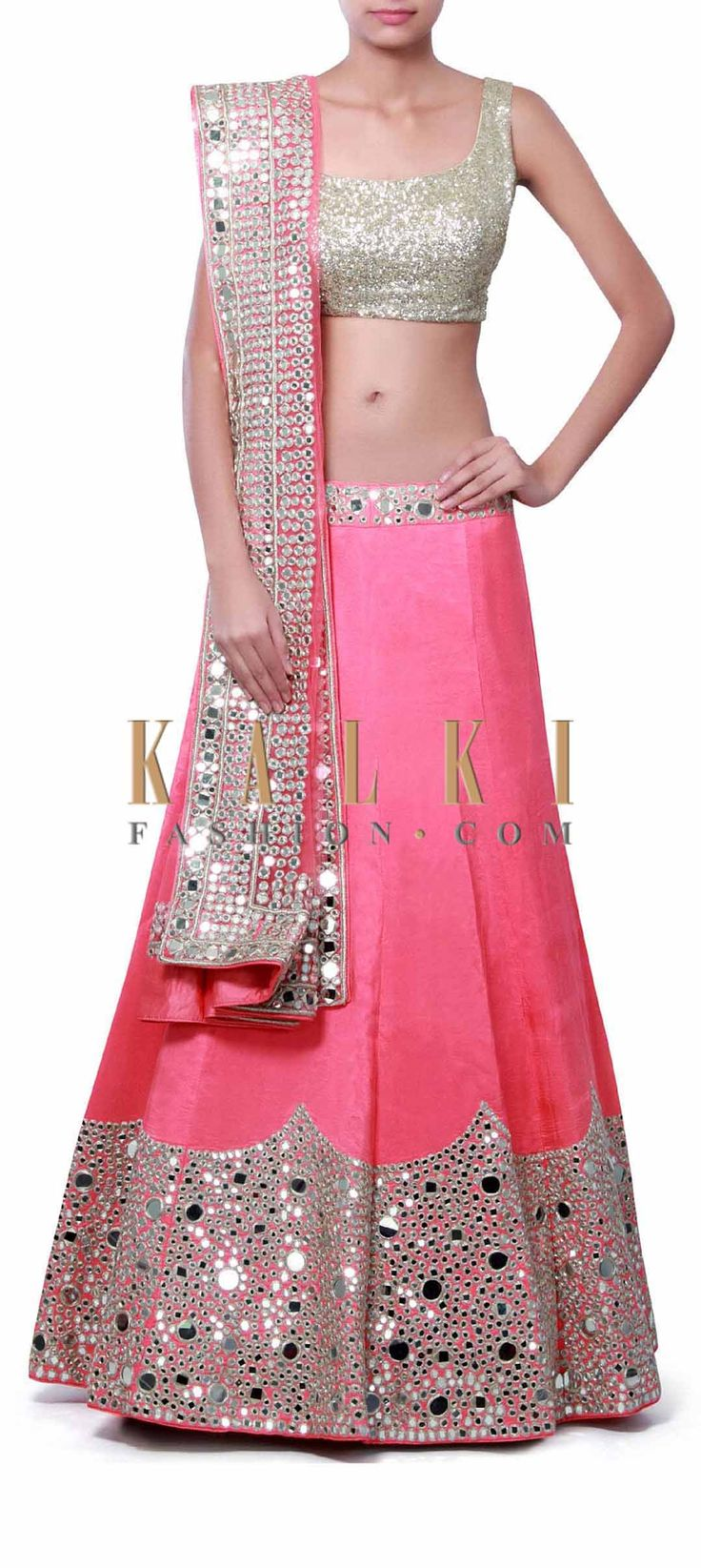 Buy Online from the link below. We ship worldwide (Free Shipping over US$100) Price-$669 Click Anywhere to Tag http://www.kalkifashion.com/pink-unstitched-lehenga-embellished-in-mirror-and-zari-embroidery-only-on-kalki.html