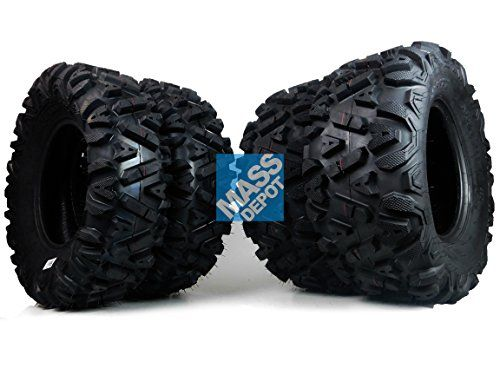 "FOUR 26x9-12 26x11-12 KT Mass Fx big TIRE SET FOUR ATV TIRES SIX PLY 26"" horn  All New MASSFX ""Side Bite"" tread pattern.  Authorized seller with full MassFx factory backed warranty  Lug design provides better braking control  6 ply rated quad/side-by-side utility tire  -Special focus on the sidewall for unmatched puncture resistance and increased durability"