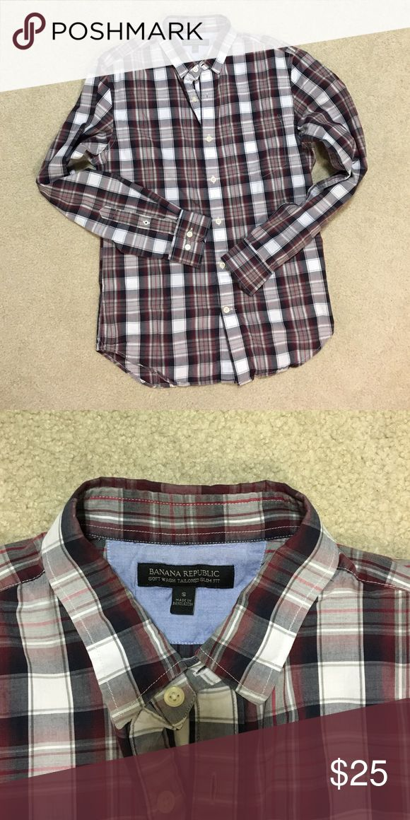 Banana Republic men's slim fit shirt Banana Republic men's small soft wash tailored slim fit cotton shirt.  Maroon, navy and grey plaid. Worn once. Great condition. Banana Republic Shirts Casual Button Down Shirts