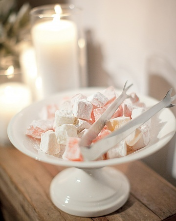 Turkish delight candy served alongside homemade cookies and Jordan almonds