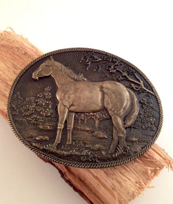Solid Brass Vintage Horse Belt Buckle by RestyleRestoration, $58.99