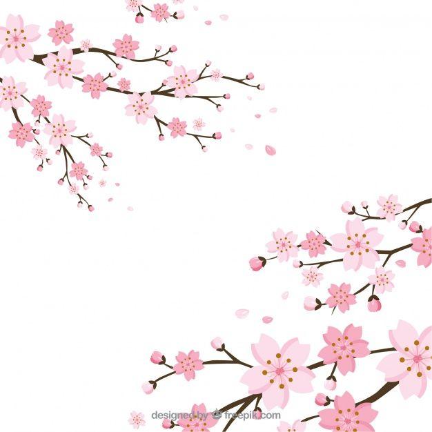 Skachivajte Cvet Vishnevogo Cvetka V Ploskom Stile Besplatno Cherry Blossom Art Cherry Blossom Background Cherry Blossom Vector