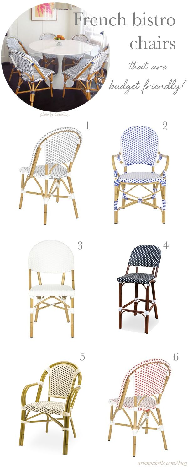 """Rattan Chairs in Traditional French Bistro Style. """"Budget friendly"""" might mean that they are not authentic French Bistro Chairs, i.e. hand crafted in France using natural rattan."""