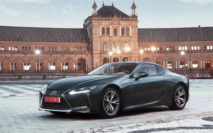 Télécharger fonds d'écran les voitures japonaises, 4k, Lexus LC500, en 2017, voitures, gris LC500, coupé, Lexus