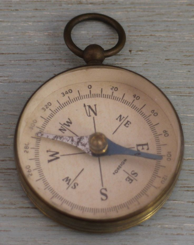 World War 1 compass housed in brass case. Diameter measures 1.5 inches.