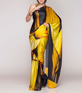 Yellow Digitally Printed Silk Satin Saree