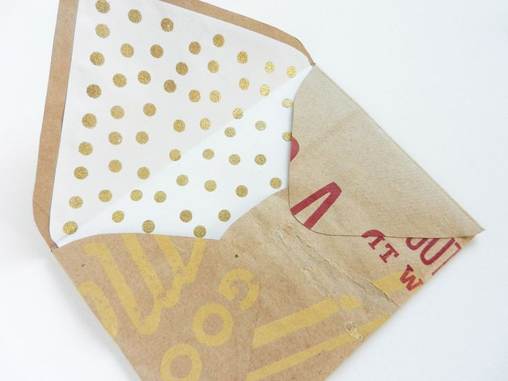 DIY Envelope Liners with Gold Polka Dots