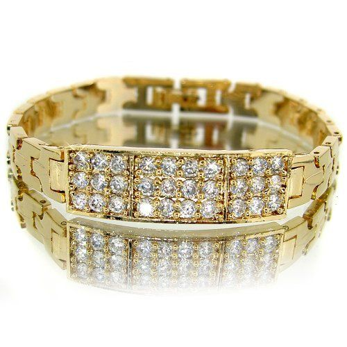 Fabulous Tag Styled Champagne Yellow Gold Plated Simulated Diamond CZ with Diamond Accent Link Bracelet BC267 myCullinan. $36.99. Come with FREE Elegant Ribbon Royal Purple Gift Box. Photo of actual item. Sophisticated Design and Superior Quality. Good affordable price. Best value for money. 100%Customer Satisfaction Guarantee. Save shipping. 1 dollar shipping for each additional item