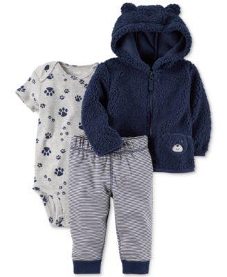Carter's 3-Pc. Fleece Hoodie, Bodysuit & Pants Set, Baby Boys (0-24 months)
