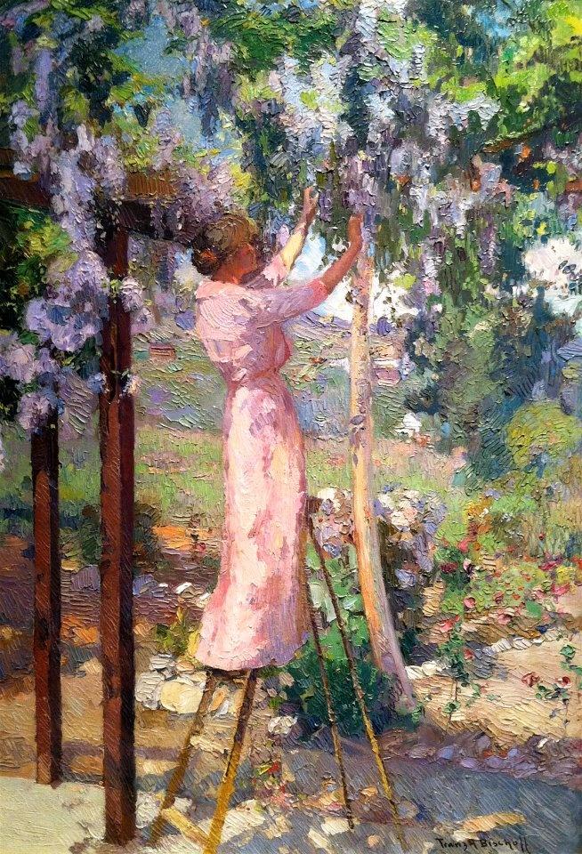 """Franz Bischoff (1864-1929)  """"Mrs. Bischoff in her Garden-Wisteria""""  c.1916-1922"""