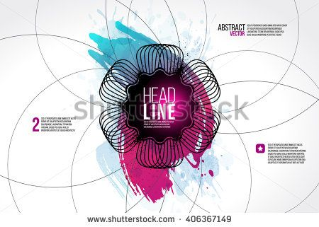 Template with watercolor background texture. abstract geometric symbol flourish. Place for your text. vector design. Eps layers. - stock vector