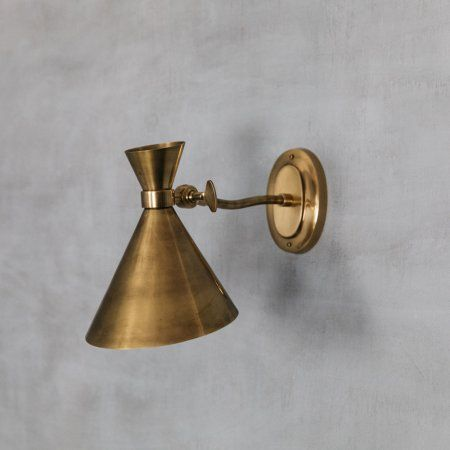 Angled Antiqued Brass Wall Light| Lighting | Graham & Green