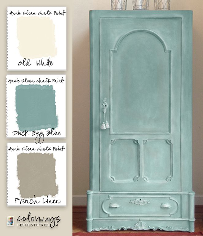 Armoire Duck Egg Blue...I painted on one coat of a solid Duck Egg Blue and followed with light layers of Duck Egg Blue mixed with Old White to form tints. This creates depth in the finish, allowing it to look more naturally aged. To create highlights, I dry brushed  Old White on the edges and raised areas. Although you could use Dark Wax for shadowing, I painted in the shadows with French Linen and sealed with Clear Wax.