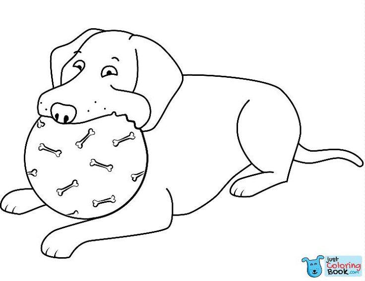 lustiger labrador retriever spielender ball ausmalbilder zum ausdrucken   – Dog Coloring Pages