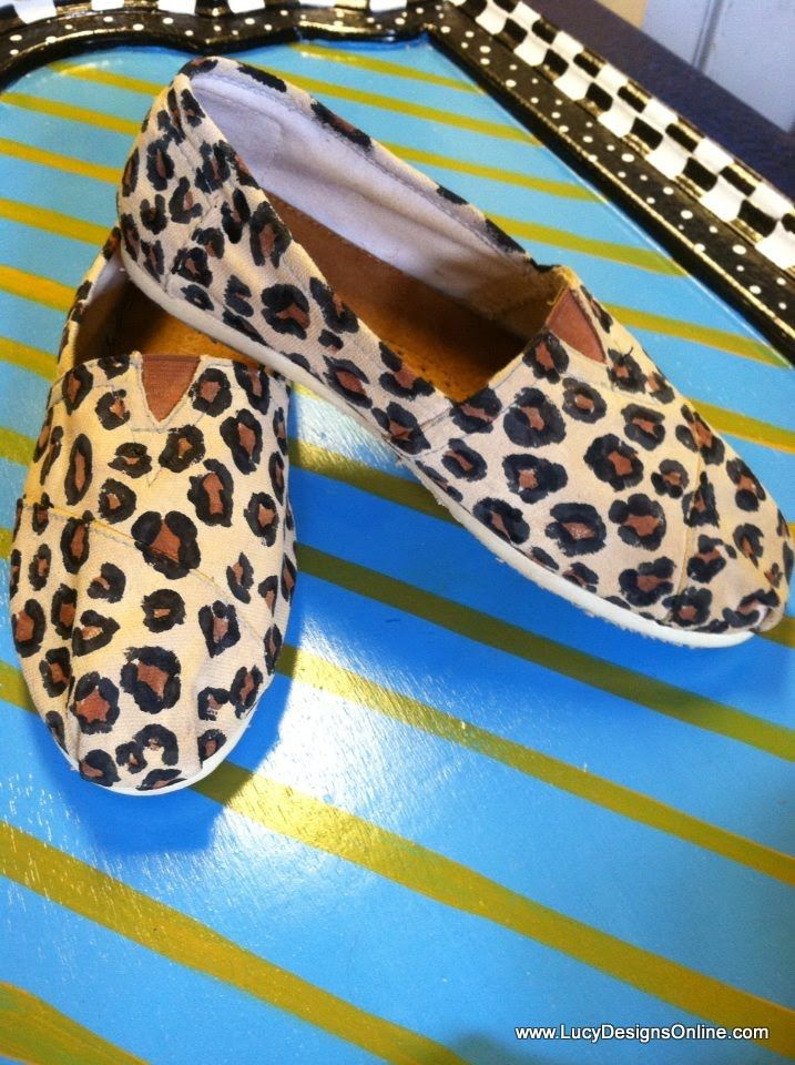 """DIY Painted Leopard """"Toms"""" - Of course, you can use any type of canvas shoe!"""