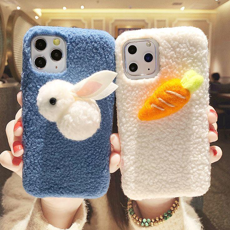 Fluffy rabbit 3d case for iphone11promaxxxsxr7p8plus