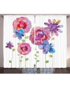 Suluboya Resmi Etkili Fon Perde Rengarenk Çiçekler