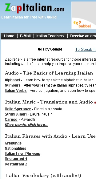 Italian Language Lessons for Beginners with Audio