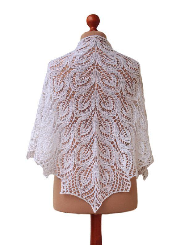 white woolen shawl handknit wrap wedding cape by OlaKnits on Etsy